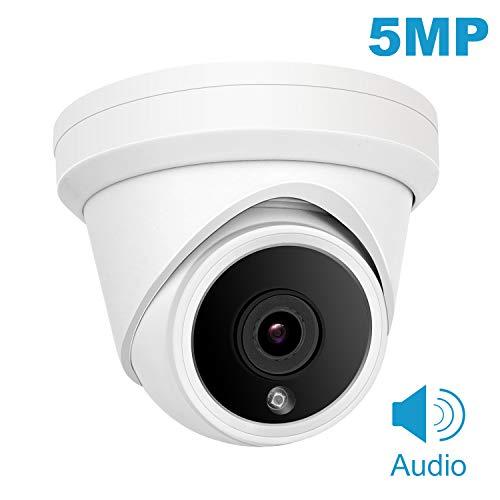 Telecamera di sicurezza POE, 5MP HD 2560x1920 Telecamera di sorveglianza esterna per uso domestico, Visione notturna, Rilevazione del movimento, Telecamera IP POE IP20 resistente alle intemperie