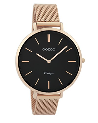 Oozoo Vintage Damenuhr Metallband 40 MM Rose/Schwarz/Rose C9374