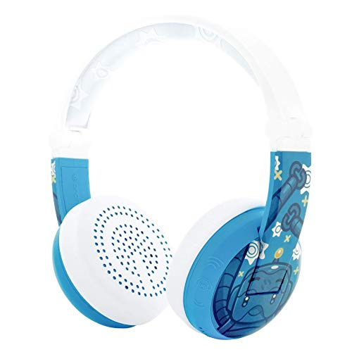 ONANOFF BuddyPhones WAVE, Waterproof Wireless Bluetooth Volume-Limiting Kids Headphones, 20-Hour Battery Life, 4 Volume Settings of 75, 85, 94db and StudyMode, Includes Backup Cable for Sharing, Robot