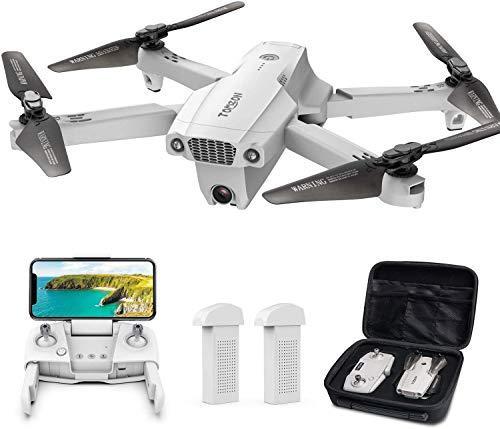 Tomzon Drone con Telecamera 4K UHD Drone GPS Pieghevole D65 FPV RC con Ritorno Automatico a Casa, Seguimi, modalit MV, Controllo Gestuale, 2 Batterie per 40 Minuti Volo e Valigetta da Trasporto