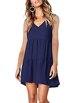 Brand: Amoretu. High Quality Guarantee. Deep v neckline with summer sleeveless dress, super sexy, fashionable and elegant. Pleated loose swing dress with tunic length, solid color,sleeveless, simple and plain, can be easily dress up and dress down. K...