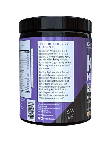 Keto Science Ketogenic Meal Shake Vanilla Dietary Supplement, Rich in MCTs and Protein, Paleo Friendly, Weight Loss, 14 servings, 20.7 oz Packaging May Vary 4