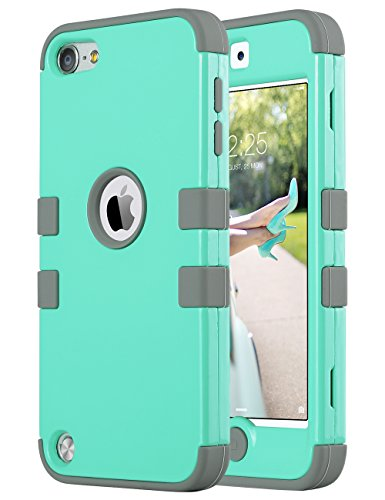 ULAK iPod Touch 7th Generation Case, iPod Touch 6th Generation Case, Heavy Duty High Impact Shockproof Protective Silicone Rugged Cover for iPod Touch 5/6/7 (Mint Gray)