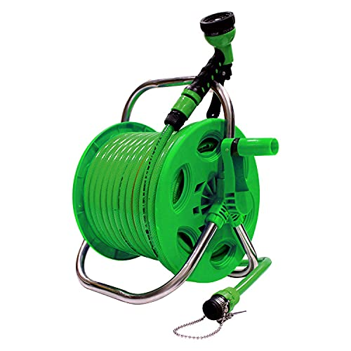 AquaHose Thermoplastic Garden Water Pipe Hose Reel 30 m 100 ft Folding Handle for Gardening Tools...