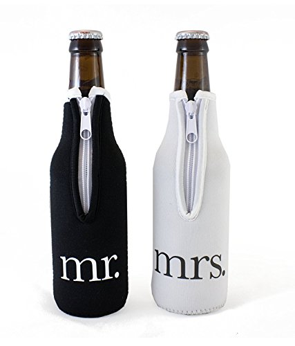 Bridal Shower Gift Mr and Mrs Wedding Beer Bottle Coolies -...