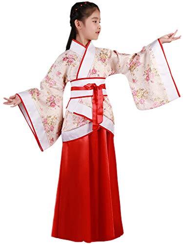 KINDOYO China Hanfu - Trajes Tradicionales de la Etapa de los Niños Rojos de Hanfu de Las Muchachas,Rojo (Estilo 3),EU 100=Tag 110