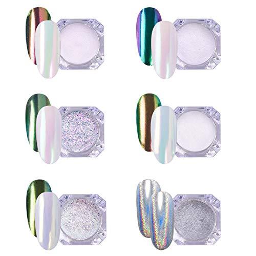 AIMEILI 6 colors Efecto Espejo Uñas Polvo Acrilico Para Uñ