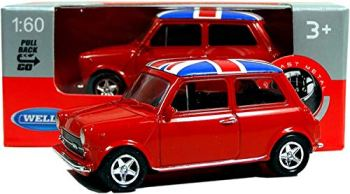Welly Mini Cooper Mini Model (Red) with Union Jack Top Made of Die Cast Metal and Plastic Parts, Pull Back & Go Action Toy