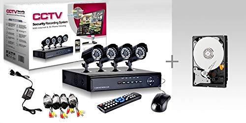 KIT VIDEO VIGILANCIA h264 CCTV 4 CANALES CÁMARA INFRARROJA 4 CANALES DVR - 4 FUENTES DE ALIMENTACIÓN - 4 EXTENSIONES - DISCO DURO 160 GB