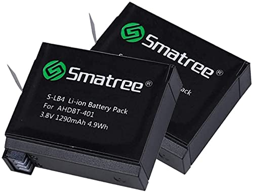 Smatree Batería de repuesto de 1290 mAh (paquete de 2) Compatible con AHDBT-401 HERO4 Black/Silver (Solo per GoPro HERO4)