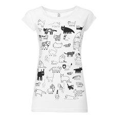 ThokkThokk Damen T-Shirt 90Cats Weiß Bio Fair, Größe:L