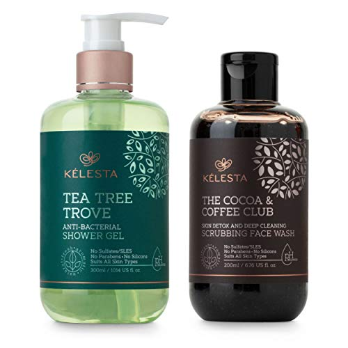 KELESTA Exciting Exfoliating Duo - Tea Tree Trove Shower Gel - Anti-Inflammatory Body Wash (300ml) - Cocoa & Coffee Club Face Wash - Skin de-tox & Deep Cleaning (200ml) - No Parabens - No Sulphates - No Silicones