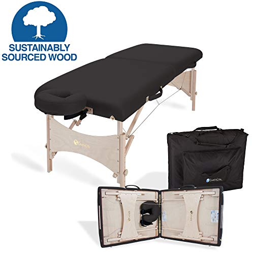 EARTHLITE Portable Massage Table HARMONY DX Eco-Friendly Design, Hard Maple, Superior Comfort, Deluxe Adjustable Face Cradle, Heavy-Duty Carry Case (30' x 73'), Black