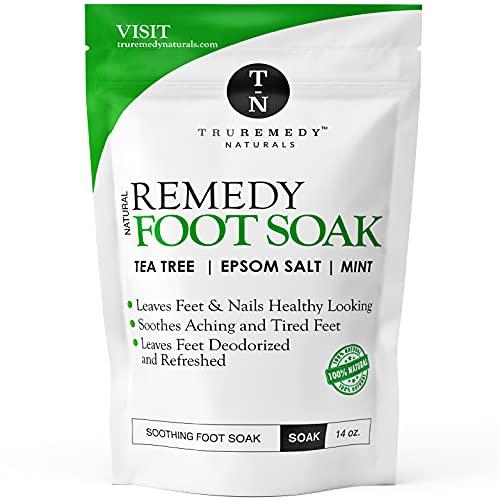 Tea Tree Oil Foot Soak with Epsom Salt & Mint, Feet Soak Helps Toenail System, Athletes Foot & Stubborn Foot Odor - Foot Bath Salt Softens Calluses & Soothes Sore Tired Feet, 14 Ounce