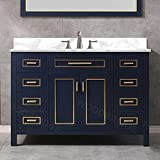 WOODBRIDGE Millan-4821-NB+FBVT4922-4 Millan 49 in. W x 22 in. D Bath Navy Blue with Engineered Marble Vanity top in Fish Belly with White Basin with 4' cc Faucet Holes
