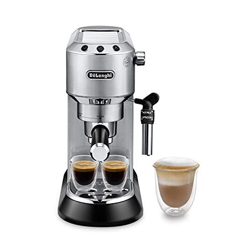 De'Longhi Dedica EC685.M Macchina da Caffè Espresso Manuale e Cappuccino, Caffè in Polvere o in Cialde E.S.E., 15 bar, 1350 W, Argento