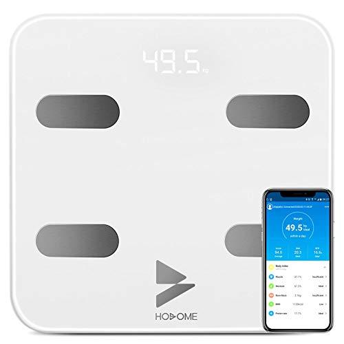 Pèse Personne Impédancemètre, Hosome Balance Connectée, Pèse-Personne Bluetooth Balance Salle de Bains Impedancemetre avec 17 Données Corporelles (BMI/Muscle/Graisse Corporelle/Masse Osseuse) (Blanc)