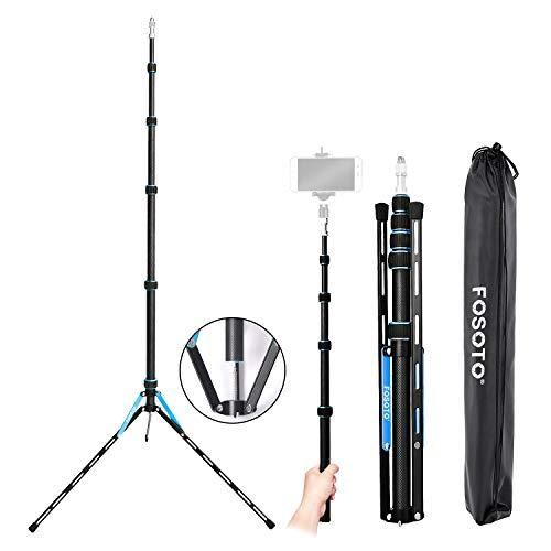 FOSOTO ライトスタンド 撮影スタンド 軽量 携帯性 カーボン製 1/4と3/8ネジ 一脚可変式 5段 220cm ブルー