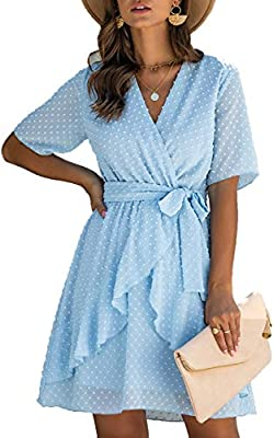 Material:This women party dress made of high quality soft chiffon material with swiss dots,add skin-friendly Lining,lightweight and comfortable to wear. Features:womens ruffles dress,see through short sleeve,allover with 3D polka dots,sexy v neck,bas...