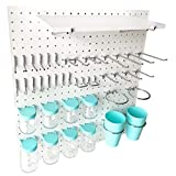 Pegboard Hooks Kit Blue 41-Piece 1/4'Holes Peg Board Accessories Set with Pegboard Shelf,Attachments,Pegs and Blue Jars-Strong,Heavy-Duty Wall Pegboard Hook Crafting,Sewing Tool Organizer
