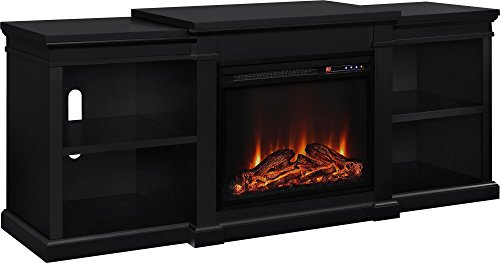 Ameriwood Home Manchester Electric Fireplace TV Stand for TVs up to 70' - Black