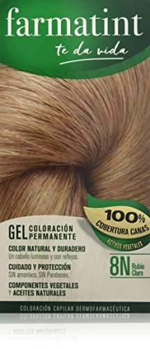 Farmatint Gel 8N Rubio Claro | Color natural y duradero | Componentes vegetales y aceites naturales | Sin amoníaco | Sin Parabenos | Dermatológicamente testado