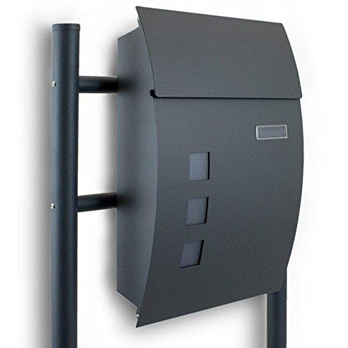 BITUXX® Standbriefkasten Briefkasten Postkasten Mailbox Letterbox Briefkastenanlage Dunkelgrau Anthrazit