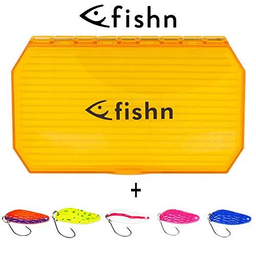 FISHINGGHOST 4/5 X Trout Spoons Set & 1 X indicatore di direzione Box - Set, Composto da 4/5 e Un' Esca Esca Artificiale Box, Esca, Trota Spoon, Trota Indicatore di direzione per la Pesca