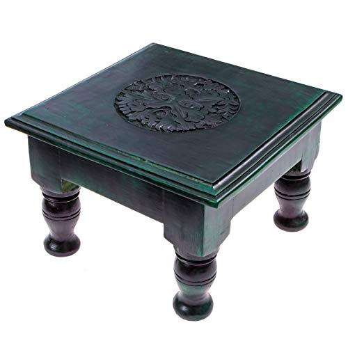 Green Man Carved Wooden Altar Table - 8 Inches Wide, 5 Inches Tall