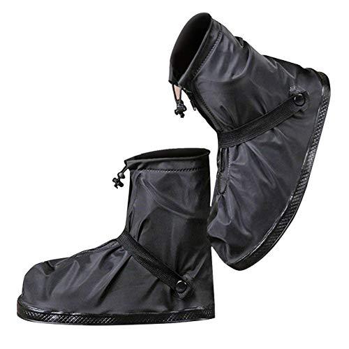 [moofun] 【改良型 シューズカバー 靴カバー 防水 梅雨対策 レインカバー 軽量 滑り止め コンパクト 雨 泥避け 雨具 男女兼用 靴の保護 履きやすい 登山 自転車用 通勤通学 手入れ簡単 ((XXXL), ブラック)