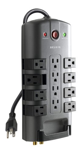 Belkin 12-Outlet Pivot-Plug Power Strip Surge Protector, 8ft Cord(4,320 Joules)