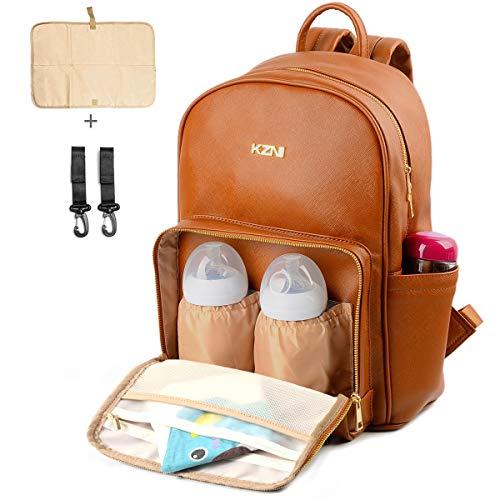 KZNI Leather Diaper Bag Backpack Nappy Bag Baby Bags for Mom Unisex Maternity Diaper Bag with Stroller Hanger Thermal Pockets Adjustable Shoulder Straps Water Proof  LargeCapacity (Brown)
