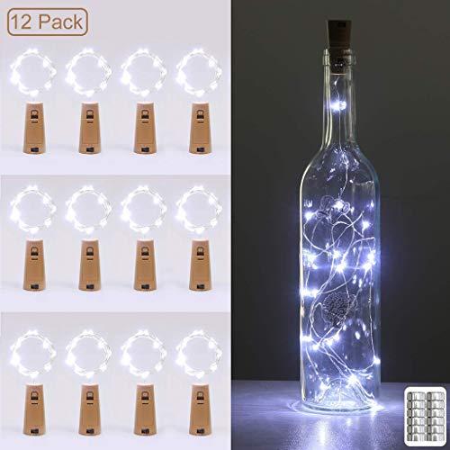 YYDE Luci della Stringa 12 Luci Pack Bottiglia, 2m 20 LED Filo di Rame Natalizia, luci di Sughero per Bottiglie di Vino, per Le Parti, di Compleanno, di Natale Centri tavola Fai da Te,Cool White