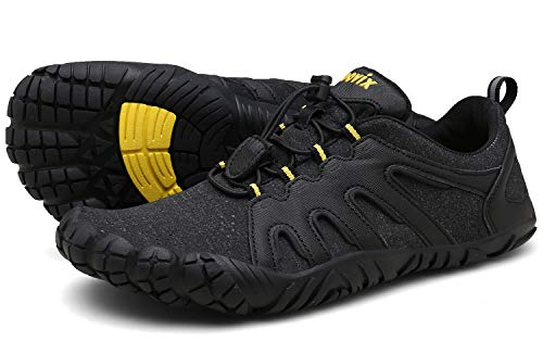 Unisex Wide Toe Minimalist Trail Running Barefoot Shoes Outdoor Sports black/yellow41