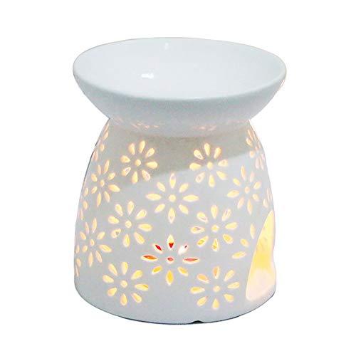 Creativa lampada aromatica forata Debon in ceramica colore bianco latte motivo floreale diffusore di oli essenziali lampada per aromaterapia bruciatore d'incenso; forno per candela portacande