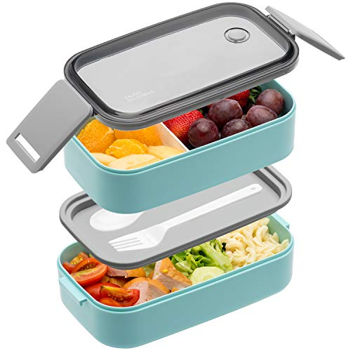 Bento Box For Adults Kids - 1600ML All-in-One Stackable Premium Japanese Bento Lunch Box Container With Utensil, Durable Leak-proof Eco-Friendly, Micro-Wave Dishwasher Freezer Safe (Blue)