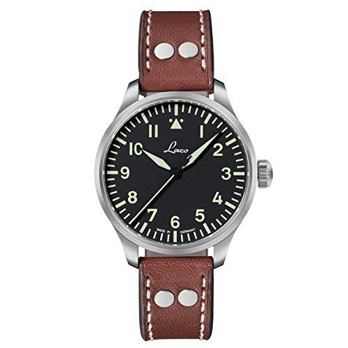 Laco Armbanduhr Fliegeruhr Basis Augsburg, Ø 42mm, hochwertige Automatikuhr, Einzigartige Qualität, 5 ATM Wasserdicht, Zeitloses Design – seit 1925 (Herren, Braun)