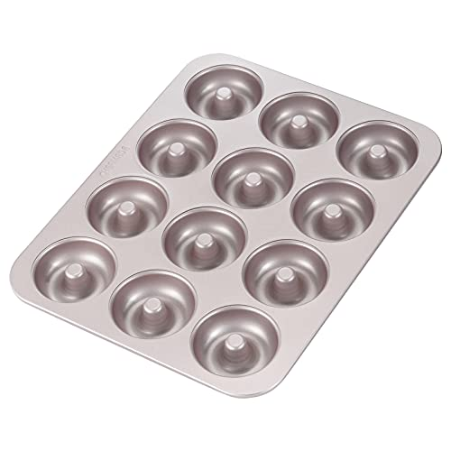 CHEFMADE Donut Mold Cake Pan, 12-Cavity Non-Stick Ring Doughnut Bakeware for Oven Baking (Champagne Gold)