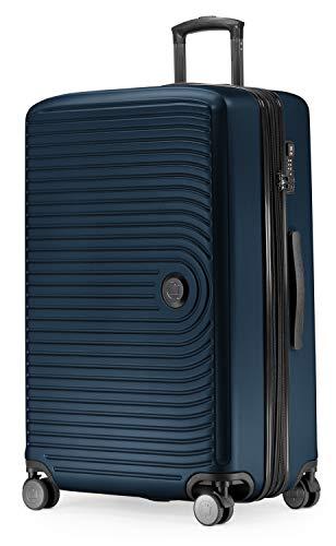 Hauptstadtkoffer Mitte - Großer Rollkoffer, Koffer Hartschale mit 8 cm Erweiterung, TSA, 4 gummierte Doppelrollen, 77 cm, 130 L, Dunkelblau