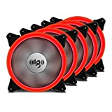 Aigo Ring LED Case Fan 140mm 14cm Quiet Edition Sleeve Bearing High Airflow Silent Cooling Fan for PC Computer Cases CPU Coolers and Radiators (5-Pack Red)