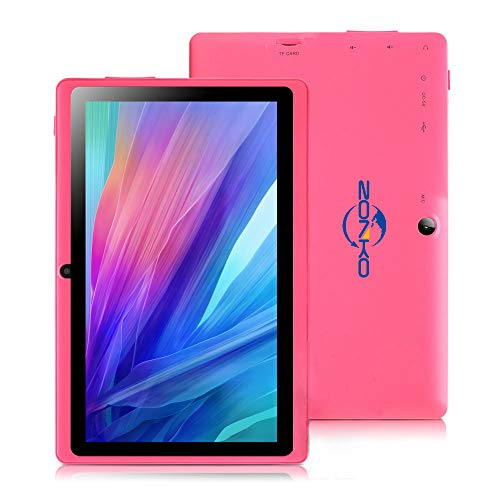 ZONKO 7 inch Tablet, Android 8.1 Quad Core 1024×600 Display, Dual Camera 2MP, 1GB RAM + 8GB ROM, Built-in WiFi and Bluetooth, Pink