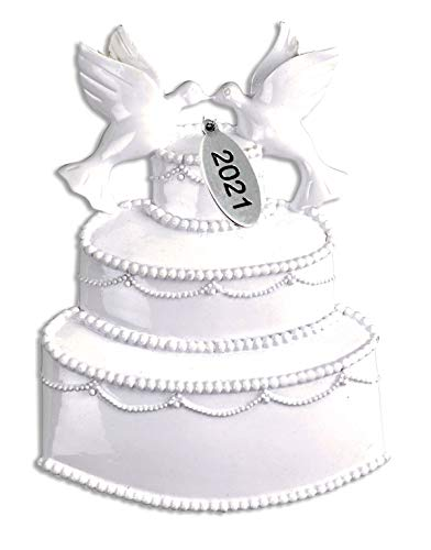 Our First Christmas Ornament 2021 Wedding Cake with Doves, Love Birds - Easy to Personalize - Comes in a Gift Bag so It's Ready for Giving