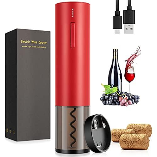WUTASU Elektrischer Korkenzieher 6 Sekunden Automatisch Flaschenöffner Weinöffner mit Folienschneider und Wiederaufladbarer USB to Type-C Ladekabel für Weinliebhaber Familienfeier