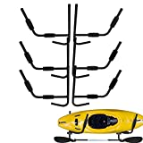 TCMT Heavy Duty Steel Kayak Ladder Wall Mount Folding Storage Rack Fit Indoor Outdoor Storage Kayak Surfboard Sailing (Black, 3 Sets)