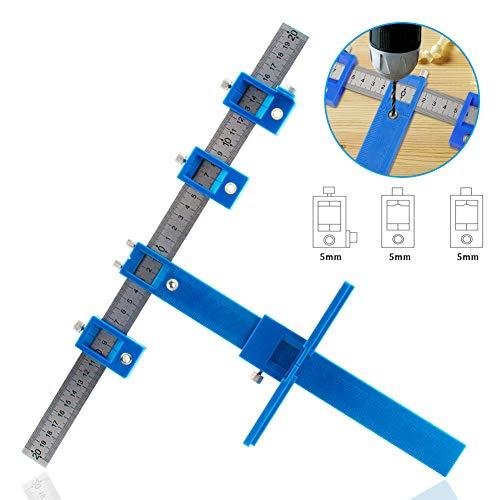 IsEasy Locher Locator Bohrführung, Bohrhilfe Bohrführungshülse, Schrank Hardware Jig Schablone, Holzbohrdübel Lineal Messwerkzeug für die Montage von Griffen