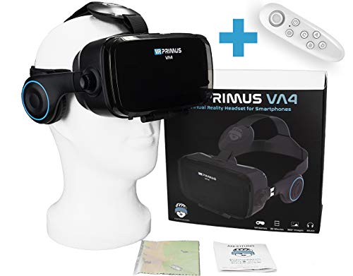 VR Primus VA4, Occhiali VR con Cuffie. Compatibile con iPhone X XS e Smartphone Android Fino a 6.2' Come Samsung, Huawei,LG,Sony,Xiaomi. con Google Cardboard App |+ Telecomando per telefoni Android