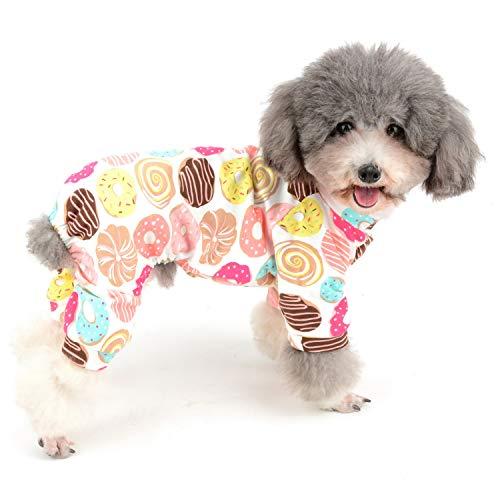 Zunea Mono de pijama para perro pequeño, de algodón suave, adorable, estampado de rosquillas, ropa de dormir de cuatro patas, para mascotas, gatos, cachorros, L