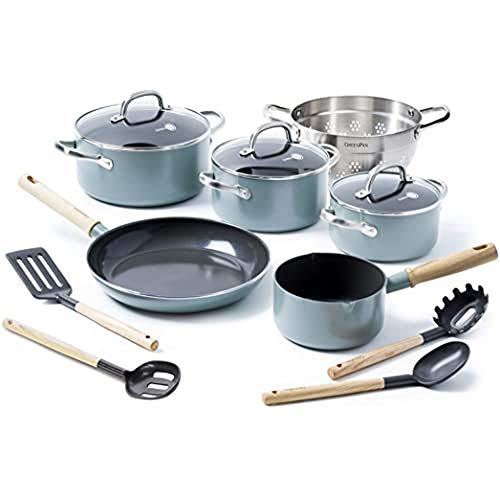 GreenPan Kochset Küchenutensilien, Kochtöpfe und Bratpfannen, Keramik Beschichtet, Induktion - 10-teilig, Blau