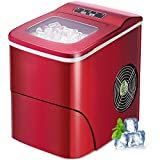 AGLUCKY Ice Maker Machine for Countertop, Portable Ice Cube Makers, Make 26 lbs ice in 24 hrs,Ice Cube Rready in 6-8 Mins with Ice Scoop and Basket for Home/Office/Bar (Red)