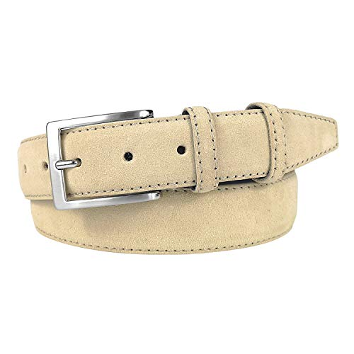 MixYourBeauty MYB Cintura uomo in vera pelle scamosciata - altezza 35 mm - Made in Italy - diversi colori e taglie disponibili (95-110 cm, Beige)